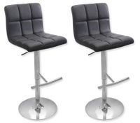 2 x PU Leather Padded Contoured Bar Stool Kitchen Chair - Black - FX-1063A_BKx2