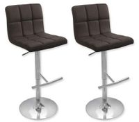 2 x PU Leather Padded Contoured Bar Stool Kitchen Furniture Chairs - Brown - FX-1063A_BRx2