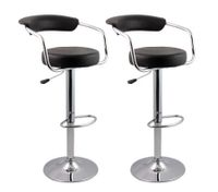 2 x Designer Bar Stool Kitchen Chair Gas Lift - Black[M90026-BKx2]