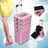 6 in 1 Portable Cosmetics Carry Case Makeup Box With Trolley- Pink