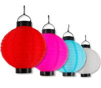 Set of 4 Hanging Multi-Colour Solar Lanterns