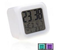 Glowing LED 7 Color Change Digital Alarm Clock Thermometer