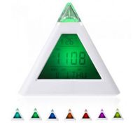 7 LED Color Changing Pyramid Digital LCD Alarm Clock Thermometer C/F