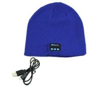 Smart Talking Keep Warm Music Beanie Hat w/ Built-in Wireless Bluetooth Stereo Earphones - Blue