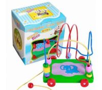 Colorful Wooden Baby's Toys Trailer Round Bead Early Education Intelligence