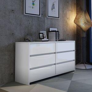 Modern 6 Drawer Chest Dresser High Gloss Storage Cabinet Wood Bedroom Furniture - White