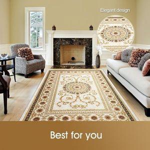 2x3m Soft Floor Area Rug Gold Yellow Traditional Carpet Anti Slip Mat Living Room Bedroom