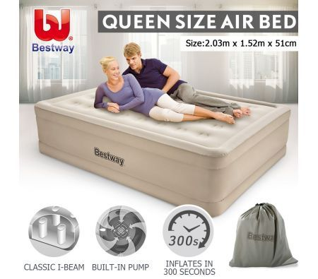 Bestway Air Bed Inflatable Queen Blow Up Mattress W Built