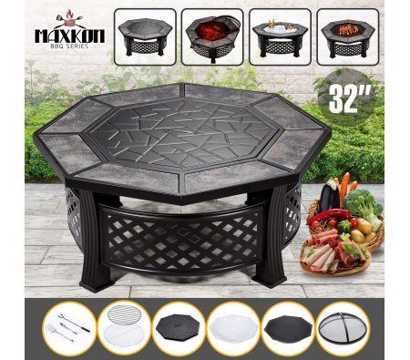 Maxkon 32 Fire Pit 4 In 1 Patio Camping Heater Fireplace Brazier W Grill Shelf