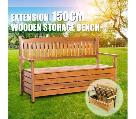 1 5m 3 Seat Wooden Outdoor Garden Storage Bench Chair Box Chest