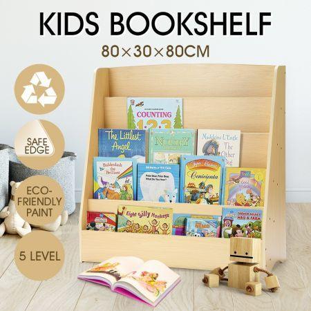5 Level Kids Bookshelf Bookcase Rack Toy Storage Organizer Display Wood Shelf