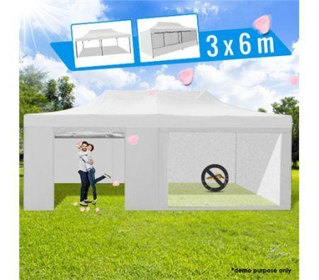3 x 6 Metre Portable Outdoor White Pop Up Gazebo / Canopy