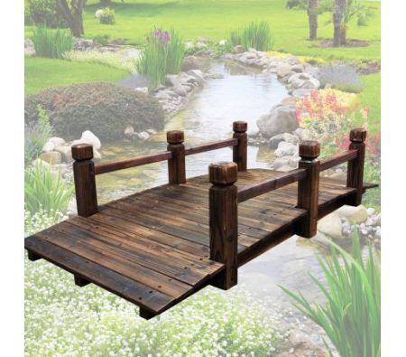 Wooden Garden Bridge With Side Rails